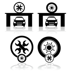 Garage icons vector