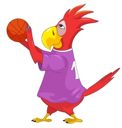 Funny parrot basketball vector