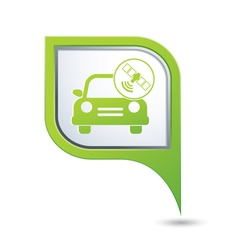 Car with satelite icon on green pointer vector