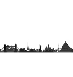 World cities skyline vector