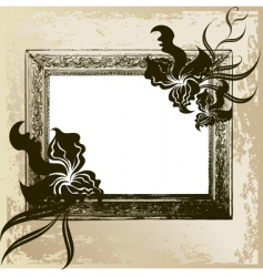 Vintage frame with orchid vector