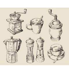 Hand drawn kitchen set vector