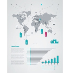 Infographics elements world map vector