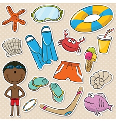 Summer beach rest african-american boy vector