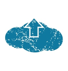 Grunge cloud upload icon vector