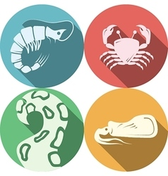 Seafood round colored icons vector