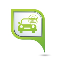 Car with shop basket icon on green pointer vector