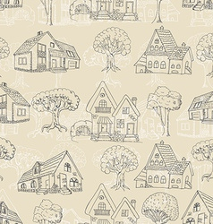 Seamless pattern with many houses and trees vector