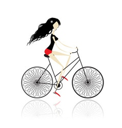 Girl cycling vector