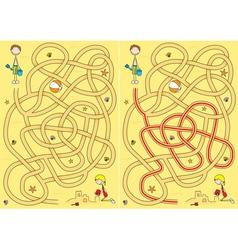 Beach maze for kids vector
