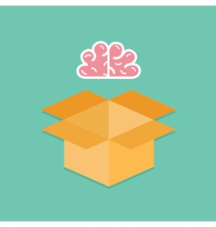 Big pink brain and opened cardboard package box vector