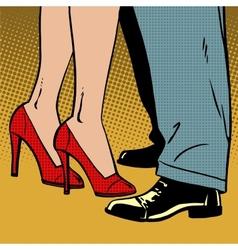 Love man and woman dance hugs pop art comics retro vector