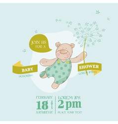 Baby arrival card - baby bear with flower vector
