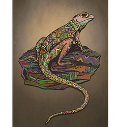 Ornate lizard with ethnic pattern rich colored vector