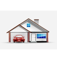House and red sports car near garage vector
