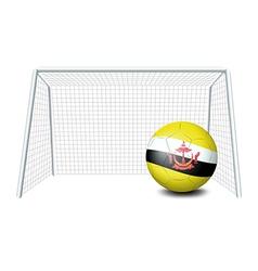 A soccer ball near the net with the brunei flag vector