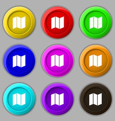 Map icon sign symbol on nine round colourful vector
