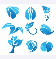 Blue flower icons vector