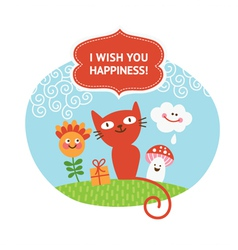 Greeting card with cute animals vector