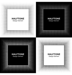Set of abstract halftone square frame backgrounds vector