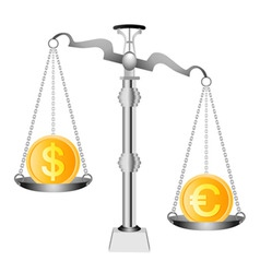 Dollar and euro on scales vector