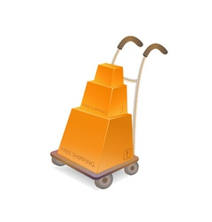 Hand truck with stack of carton packages vector