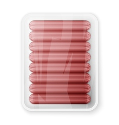 Pork sausages in a plastic packaging tray vector