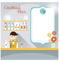 Bartender at counter cocktail bar with blank sign vector