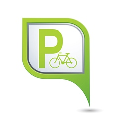 Parking bicycle icon on green pointer vector