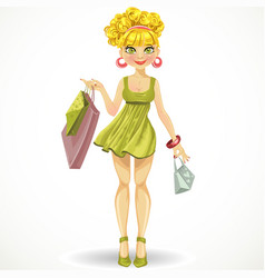 Beautiful blond girl with shopping bags in green vector