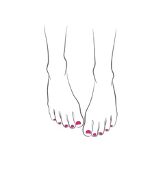 Female feet with red pedicure chiropody vector