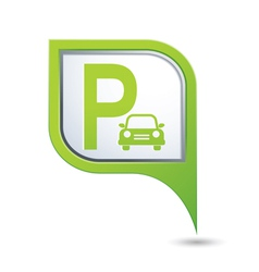 Parking icon on green map pointer vector