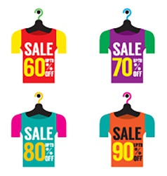 Clothes hangers with sale tag vector