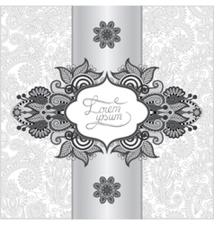 Grey floral ornamental template with place for vector