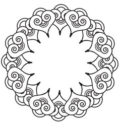 Indian henna tattoo inspired heart shapes wreath 3 vector
