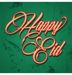 Retro calligraphy of text happy eid - il vector