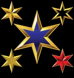 Gold six-pointed stars vector