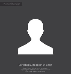 Male profile premium icon white on dark background vector