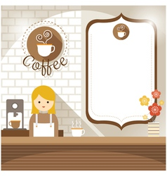 Girl at coffee shop counter with blank sign vector