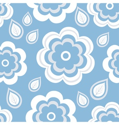 Seamless pattern blue with flowers and leaf vector