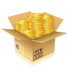 Cardboard box with gold coins vector