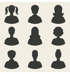 Woman avatar icons vector
