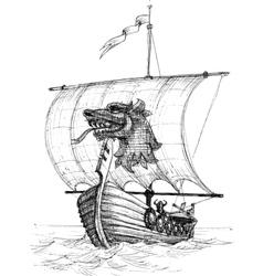 Long boat drakkar sketch vector