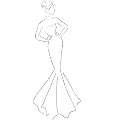 Sketch of young beautiful woman vector