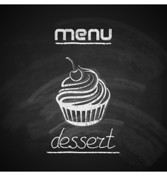 Vintage chalkboard menu design with a cupcake vector