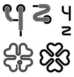 Shoelace alphabet lower case letters y z vector