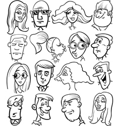 Cartoon people characters faces vector