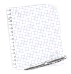 Notebook sheet with metal ballpoint vector