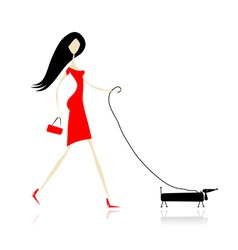 Woman in red dress walking with dog vector