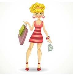 Beautiful blond girl with shopping bags in pink vector